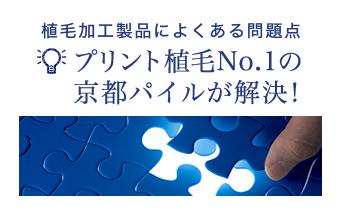 植毛加工製品によくある問題点プリント植毛№1の京都パイルが解決!
